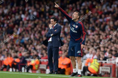 Juan Carlos Carcedo First Team Assistant Head Coach of Arsenal in action during the Premier League match between Arsenal and Aston Villa at the Emirates Stadium in London, UK - 22nd September 2019