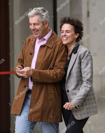Stock Photo of Co-presenter Justin Webb and wife Sarah Gordon are seen leaving BBC Broadcasting House in London