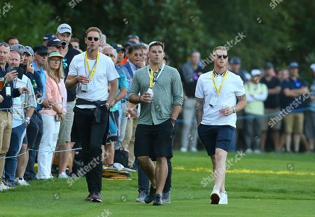 Stock Photo of England cricketers Stuart Broad and Ben Stokes during the BMW PGA Championship Day 1