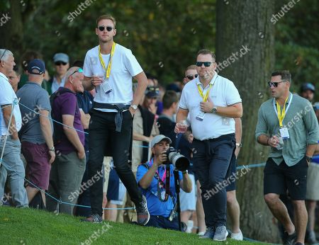 Stock Picture of England cricketers Stuart Broad and Ben Stokes during the BMW PGA Championship Day 1