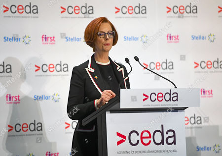 Former Australian prime minister Julia Gillard speaks at the Committee for Economic Development of Australia's (CEDA) 40th State of the Nation 2019 conference at Parliament House in Canberra, Australian Capital Territory, Australia, 19 September 2019.