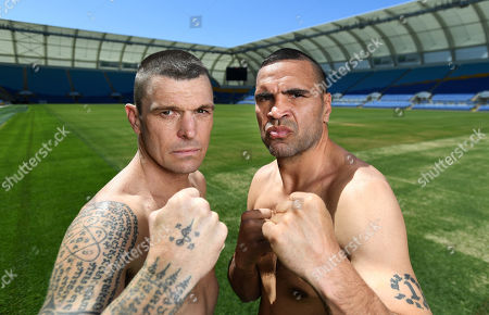 Australian boxers Anthony 'The Man' Mundine (R) and John Wayne 'The Gunslinger' Parr pose for photographs during a media call at CBus Super Stadium on the Gold Coast, Queensland, Australia, 18 September 2019 (issued 19 September 2019). Mundine and Parr are promoting their 'Worlds Collide' fight which will take place on 30 November on the Gold Coast.
