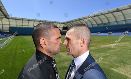Australian boxers Anthony 'The Man' Mundine (L) and John Wayne 'The Gunslinger' Parr face-off during a media call at CBus Super Stadium on the Gold Coast, Queensland, Australia, 18 September 2019 (issued 19 September 2019). Mundine and Parr are promoting their 'Worlds Collide' fight which will take place on 30 November on the Gold Coast.
