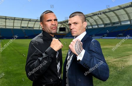 Australian boxers Anthony 'The Man' Mundine (L) and John Wayne 'The Gunslinger' Parr pose for photographs during a media call at CBus Super Stadium on the Gold Coast, Queensland, Australia, 18 September 2019 (issued 19 September 2019). Mundine and Parr are promoting their 'Worlds Collide' fight which will take place on 30 November on the Gold Coast.