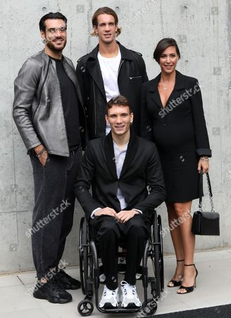 Giuseppe Vicino, Giacomo Gentile, Manuel Bortuzzo and Flavia Pennetta pose before the Emporio Armani show during the Milan Fashion Week, in Milan, Italy, 19 September 2019. The Spring-Summer 2020 Women's collections are presented at the Milano Moda Donna from 17 to 23 September 2019.