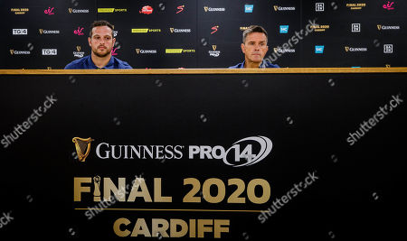 Ospreys' Dan Evans and head coach Allen Clarke speaking at Cardiff City Stadium, the site of the 2020 Guinness PRO14 Final which takes place on June 20