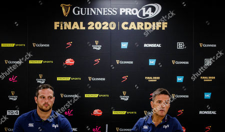 Stock Image of Ospreys' Dan Evans and head coach Allen Clarke speaking at Cardiff City Stadium, the site of the 2020 Guinness PRO14 Final which takes place on June 20