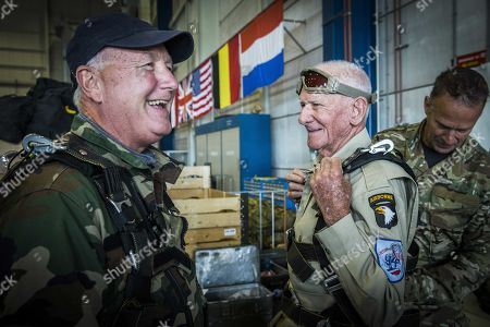Stock Image of US WWII veteran Tom Rice (98 years old) from California and American ambassador Pete Hoekstra (L) prior to their anniversary parachute jump 75 years after Operation Market Garden landing in Arnhem, at Eindhoven Air Base in Eindhoven, the Netherlands, 19 September 2019. During the World War II, the Allies launched an airborne landing at the Dutch town Arnhem in September 1944. It was codenamed Operation Market Garden.