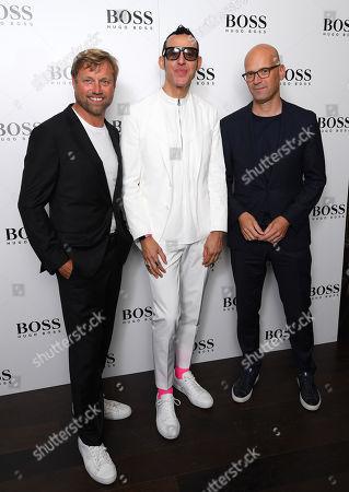Mark Langer (CEO Hugo Boss), Karim Rashid and Alex Thomson (Racing Sailor)
