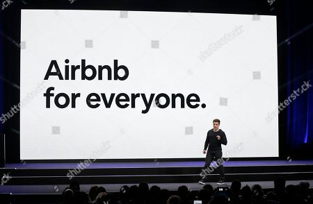 Airbnb co-founder and CEO Brian Chesky speaks during an event in San Francisco. Home-sharing company Airbnb Inc. says it will go public in 2020. It's a long-awaited move for the company, which was founded in 2008 in San Francisco