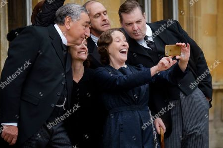 Stock Picture of Jim Carter as Mr. Carson, Raquel Cassidy as Miss Baxter, Kevin Doyle as Mr. Molesley, Phyllis Logan as Mrs. Hughes and Brendan Coyle as Mr. Bates