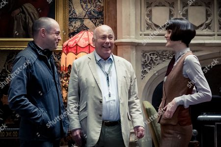 Stock Picture of Gareth Neame Producer, Julian Fellowes Writer and Producer and Michelle Dockery as Lady Mary Talbot