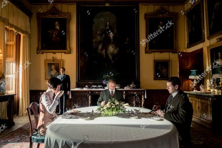 Michelle Dockery as Lady Mary Talbot, Rob James-Collier as Thomas Barrow, Hugh Bonneville as Lord Grantham and Allen Leech as Tom Branson