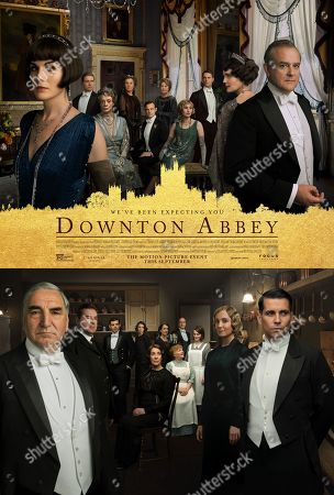 Downton Abbey (2019) Poster Art. Michelle Dockery as Lady Mary Talbot, Maggie Smith as Violet Crawley, Elizabeth McGovern as Cora Crawley, Hugh Bonneville as Robert Crawley, Earl of Grantham, Jim Carter as Mr. Carson, Brendan Coyle as Mr. Bates, Joanne Froggatt as Anna Bates and Rob James-Collier as Thomas Barrow
