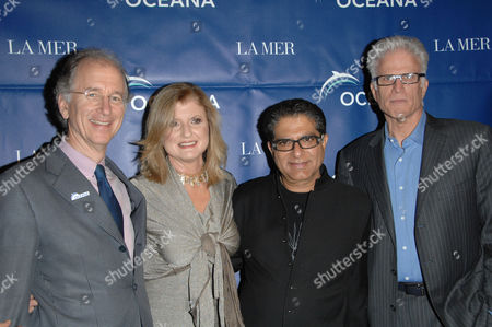 Stock Picture of Andrew Sharpless, Arianna Huffington and Deepak Chopra with Ted Danson