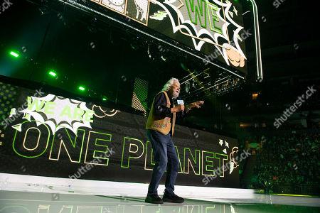 David Suzuki speaks during WE Day Toronto at the Scotiabank Arena, in Toronto