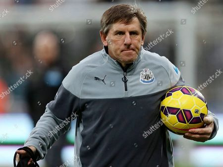 Newcastle United's Peter Beardsley ahead of their English Premier League soccer match against Burnley at St James' Park, Newcastle, England. Former England and Newcastle forward Peter Beardsley has been suspended from all soccer-related activity for eight months after being found guilty of making racist comments toward young players, it was announced Thursday, Sept. 19, 2019. Beardsley left his role as Newcastle under-23s team coach earlier this year after an internal investigation and he has now been banned by the Football Association until April next year
