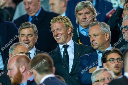 Former Feyenoord and Liverpool striker Dirk Kuyt is all smiles in the main stand before the Europa League match between Rangers FC and Feyenoord Rotterdam at Ibrox Stadium, Glasgow