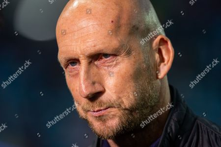 Feyenoord manager, Jaap Stam speaks to the media before the Europa League match between Rangers FC and Feyenoord Rotterdam at Ibrox Stadium, Glasgow