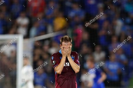 Trabzonspor's Joao Pereira reacts during Europe League Group C soccer match between Getafe and Trabzonspor at the Alfonso Perez stadium in Getafe, Spain