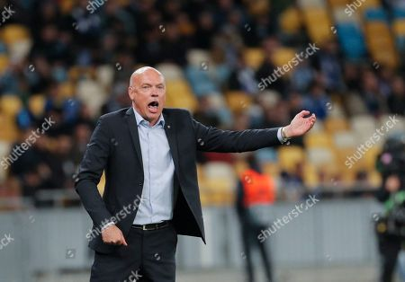 Stock Picture of Malmo head coach Uwe Rosler reacts during the UEFA Europa League group B soccer match between FC Dynamo Kyiv and Malmo FF in Kiev, Ukraine, 19 September 2019.