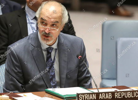 Stock Picture of Syria's United Nations Ambassador Bashar Jaafari address a U.N. Security Council's meeting on Syria, at U.N. headquarters