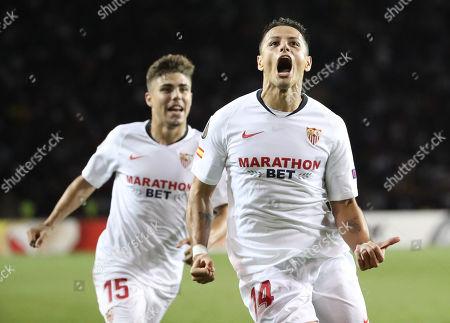 Javier Hernandez (R) of Sevilla celebrates scoring the opening goal during the UEFA Europa League group A match Qarabag vs Sevilla in Baku, Azerebaijan, 19 September 2019.