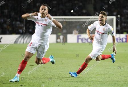 Javier Hernandez (L) and Alejandro Pozo (R )of Sevilla celebrate during the UEFA Europa League group A match Qarabag vs Sevilla in Baku, Azerebaijan, 19 September 2019.