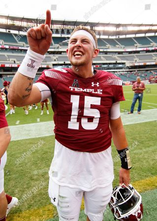 Temple quarterback Anthony Russo (15) reacts to the win following the second half of an NCAA college football against Maryland, in Philadelphia. Temple won 20-17