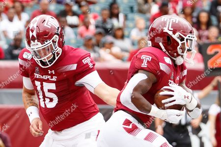 Anthony Russo, Jager Gardner. Temple quarterback Anthony Russo (15) hands the ball off to running back Jager Gardner (21) action during the first half of an NCAA college football against Maryland, in Philadelphia. Temple won 20-17