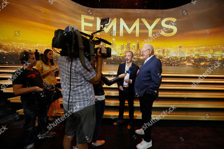 Stock Image of Ian Stewart, Don Mischer. Executive producers Ian Stewart, left, and Don Mischer are interviewed ahead of the st Emmy telecast during FOX's 2019 Pre-Emmy Press Event at Microsoft Theater on Thursday, Sept. 19, 2019, in Los Angeles, CA