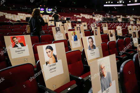 The press get a sneak peek of the nominee and presenter seats including a seat for celebrities Max Greenfield, Kendall Jenner, Kim Kardashian, Terrence Howard, Peter Krause and Ted Danson for the st Emmy telecast during FOX's 2019 Pre-Emmy Press Event at Microsoft Theater on Thursday, Sept. 19, 2019, in Los Angeles, CA