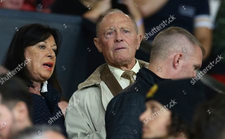 Former cricketer Geoffrey Boycott watches from the stands during the Europa League Group L soccer match between Manchester United and Astana at Old Trafford stadium in Manchester, England
