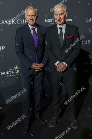 Patrick McEnroe (L), Vice Captain of Team World and John McEnroe (R), Captain of Team World, pose on the red carpet at Gala night, during the Laver Cup in Geneva, Switzerland, 19 September 2019. The competition will pit a team of the best six European players against the top six from the rest of the world. The Laver Cup edition is scheduled for Sept. 20-22 at the Palexpo in Geneva. The Laver Cup is named after the Australian tennis legend Rod Laver.