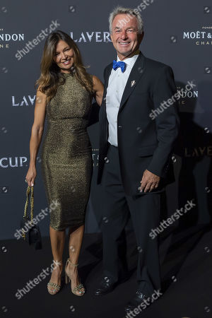 Tony Godsick (R), agent of Roger Federer and President and CEO of TEAM8 and Chairman of the Laver Cup and his wife Mary Joe Fernandez poseon the red carpet at Gala night, during the Laver Cup in Geneva, Switzerland, 19 September 2019. The competition will pit a team of the best six European players against the top six from the rest of the world. The Laver Cup edition is scheduled for Sept. 20-22 at the Palexpo in Geneva. The Laver Cup is named after the Australian tennis legend Rod Laver.