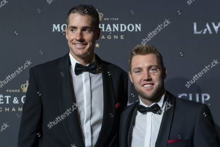 Team world's John Isner (L) and Jack Sock  pose on the red carpet at Gala night, during the Laver Cup in Geneva, Switzerland, 19 September 2019. The competition will pit a team of the best six European players against the top six from the rest of the world. The Laver Cup edition is scheduled for Sept. 20-22 at the Palexpo in Geneva. The Laver Cup is named after the Australian tennis legend Rod Laver.
