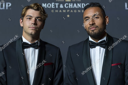 Team world's Taylor Fritz (L) and Nick Kyrgios, pose on the red carpet at Gala night, during the Laver Cup in Geneva, Switzerland, 19 September 2019. The competition will pit a team of the best six European players against the top six from the rest of the world. The Laver Cup edition is scheduled for Sept. 20-22 at the Palexpo in Geneva. The Laver Cup is named after the Australian tennis legend Rod Laver.