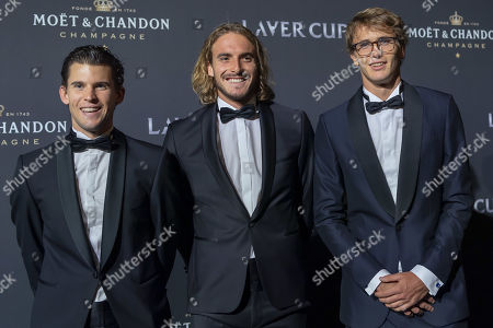 (L-R) Dominic Thiem, Stefanos Tsitsipas and Alexander Zverev of Team Europe pose on the red carpet at Gala night, during the Laver Cup in Geneva, Switzerland, 19 September 2019. The competition will pit a team of the best six European players against the top six from the rest of the world. The Laver Cup edition is scheduled for Sept. 20-22 at the Palexpo in Geneva. The Laver Cup is named after the Australian tennis legend Rod Laver.