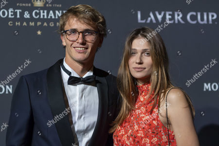 Team Europe's Alexander Zverev and Olya Sharypova, pose on the red carpet at Gala night, during the Laver Cup in Geneva, Switzerland, 19 September 2019. The competition will pit a team of the best six European players against the top six from the rest of the world. The Laver Cup edition is scheduled for Sept. 20-22 at the Palexpo in Geneva. The Laver Cup is named after the Australian tennis legend Rod Laver.