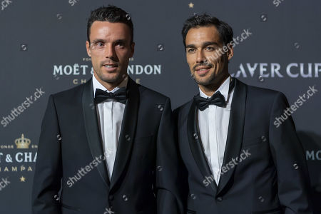 Roberto Bautista Agut (L) and Fabio Fognini of Team Europe pose on the red carpet at Gala night, during the Laver Cup in Geneva, Switzerland, 19 September 2019. The competition will pit a team of the best six European players against the top six from the rest of the world. The Laver Cup edition is scheduled for Sept. 20-22 at the Palexpo in Geneva. The Laver Cup is named after the Australian tennis legend Rod Laver.