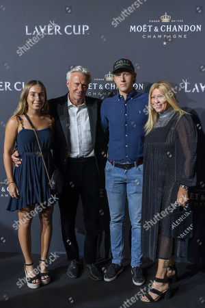 Team Europe captain Bjoern Borg and with his wife Patricia Ostfeldt and son Leo Borg, poses for photograph on the red carpet at Gala night, during the Laver Cup in Geneva, Switzerland, 19 September 2019. The competition will pit a team of the best six European players against the top six from the rest of the world. The Laver Cup edition is scheduled for Sept. 20-22 at the Palexpo in Geneva. The Laver Cup is named after the Australian tennis legend Rod Laver.
