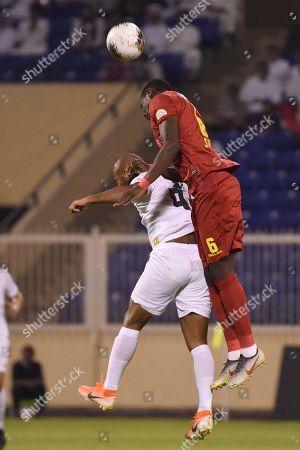 Player of damac Gigi (L) in action for the ball with Al-Shabab player Sebastiao Junior (R) during the Saudi Professional League soccer match between Damac and Al Shabab at Prince Sultan Bin Abdulaziz Sports City Stadium , Khamis Mushait , Saudi Arabia, 19 September 2019.