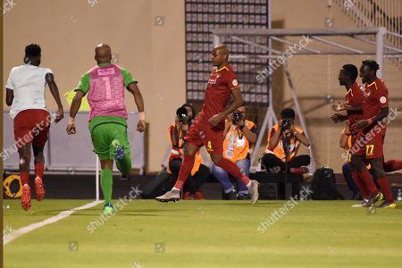 Players of Damac celebrate after scoring a goal during the Saudi Professional League soccer match between Damac and Al Shabab at Prince Sultan Bin Abdulaziz Sports City Stadium , Khamis Mushait , Saudi Arabia, 19 September 2019.