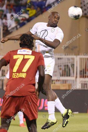 Player of Damac Rafael Assis (L) in action for the ball with Al-Shabab player Sebastiao Junior (R) during the Saudi Professional League soccer match between Damac and Al Shabab at Prince Sultan Bin Abdulaziz Sports City Stadium , Khamis Mushait , Saudi Arabia, 19 September 2019.