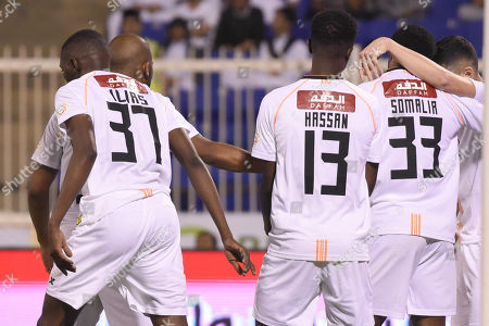 Players of Al Shabab celebrate after scoring a goal during the Saudi Professional League soccer match between Damac and Al Shabab at Prince Sultan Bin Abdulaziz Sports City Stadium , Khamis Mushait , Saudi Arabia, 19 September 2019.
