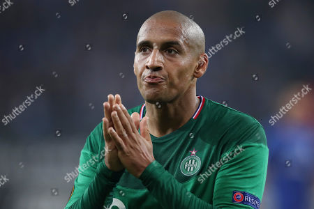 Saint-Etienne's Wahbi Khazri gestures to supporters at the end of the the Europa League group I soccer match between Gent and Saint Etienne at KAA Gent Stadium in Ghent, Belgium, . Gent won 3-2