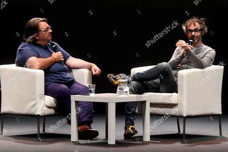 James Rhodes (R) participates in the 'Hay Festival' art festival in Segovia, Spain, 19 September 2019. The Hay Festival runs from 19 to 22 September 2019.