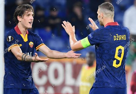 AS Roma's Edin Dzeko (R) celebrates with his teammate Nicolo' Zaniolo after scoring the 2-0 goal during the UEFA Europa League group J soccer match between AS Roma and Istanbul Basaksehir at the Olimpico stadium in Rome, Italy, 19 September 2019.