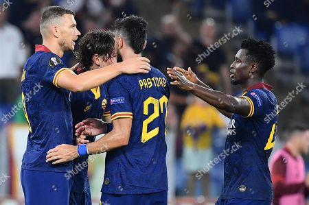 AS Roma's Edin Dzeko (L) celebrates with his teammates after scoring the 2-0 goal during the UEFA Europa League group J soccer match between AS Roma and Istanbul Basaksehir at the Olimpico stadium in Rome, Italy, 19 September 2019.