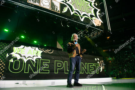 Stock Image of Award-winning scientist, environmentalist and broadcaster, David Suzuki, speaks to 20,000 students and teachers at WE Day Toronto at the Scotiabank Arena, in Toronto